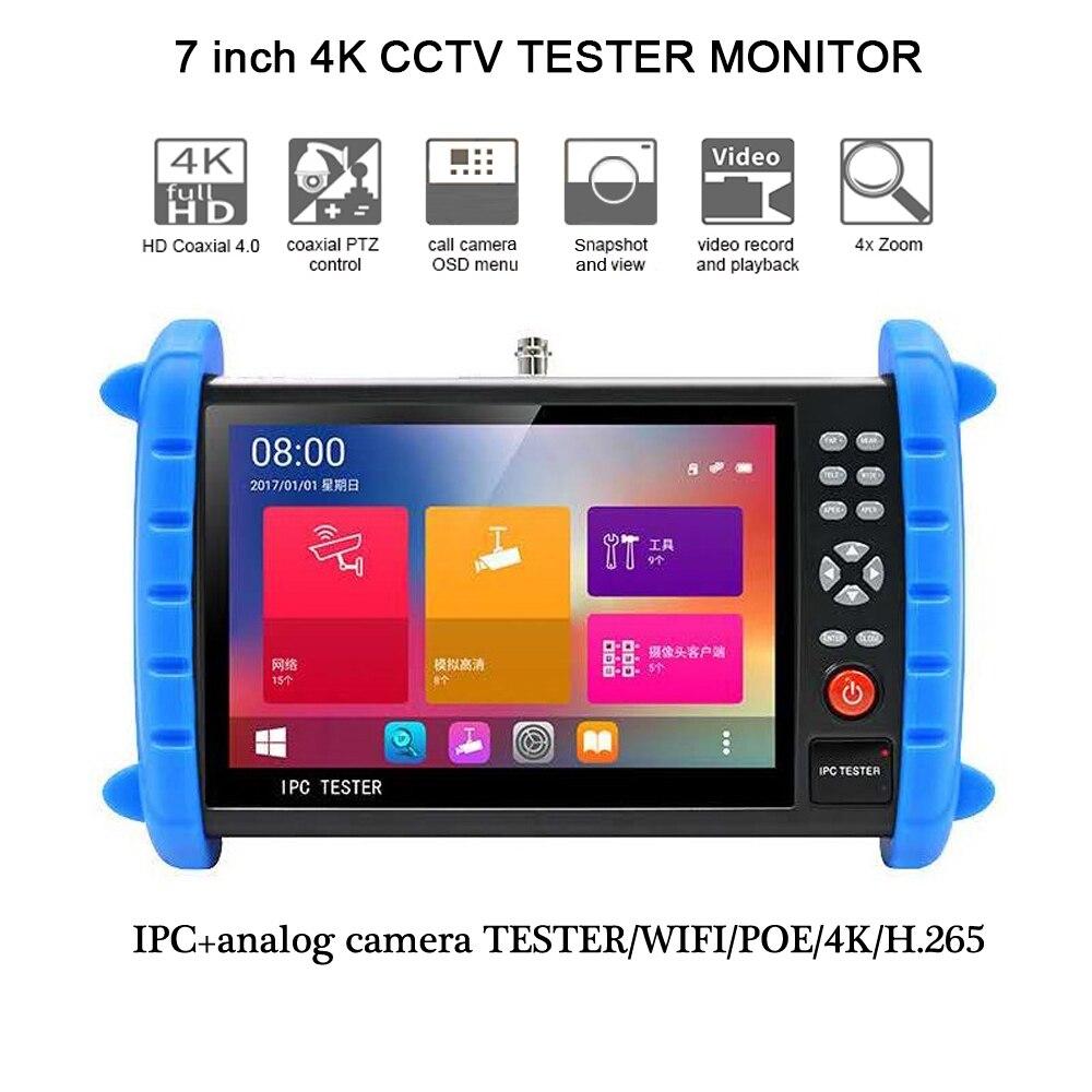 7-inch 1920*1200 tela de toque h.265 4 k ip/tvi/cvi/ahd 8mp/cvbs segurança sinal profissional tester 12v24v48v poe entrada hdmi