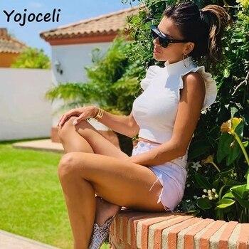 Yojoceli pretty ruffle knits women sleeveless sweater jumper pullovers female sweater 4