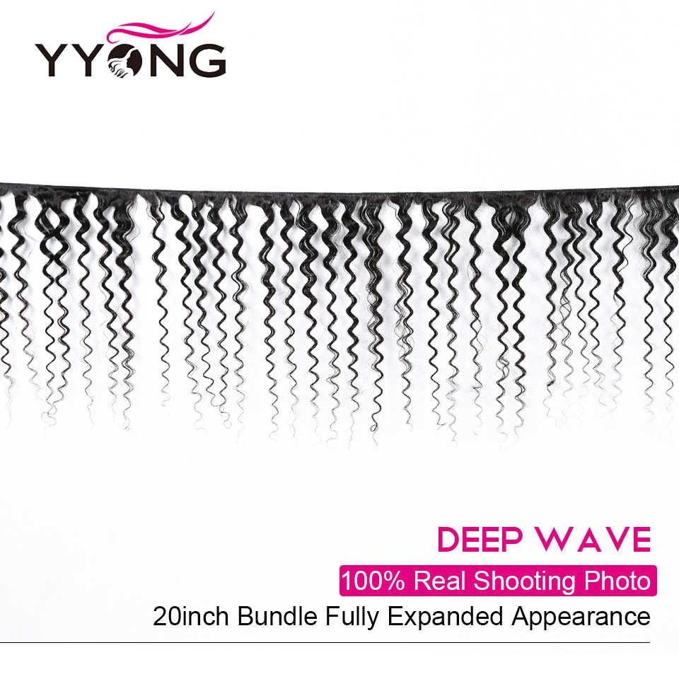 Yyong, бразильские волосы, глубокая волна, человеческие волосы, 3 пряди, с 4*4, на шнуровке, Remy, бразильские волосы, пряди с закрытием, Tissage
