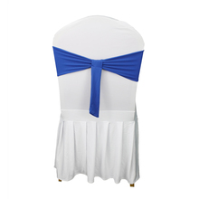 100PC/Lot Blue Satin Chair Sashes Wedding Decoration Bow Knot Ties for Hotel Marriage Banquet Outdoor Party