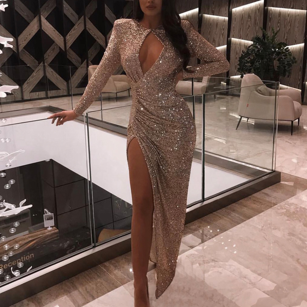 Missord 2019 Women Sexy High Neck Long Sleeve Hollow Out Dresses Female Sequin Dress Maxi Elegant Dress  FT19517