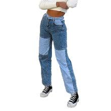 Primavera mulheres retalhos namorado jeans casual solto cintura alta denim calças mulher do vintage perna larga em linha reta mãe calças de brim