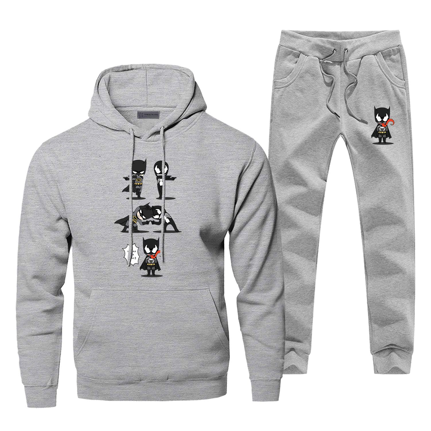 Funny Design Marvel Super Hero Batman Venom Fit Print Sweatshirt Hoodies Pants Two Piece Sets Men Fleece Sportswear Sweatpants