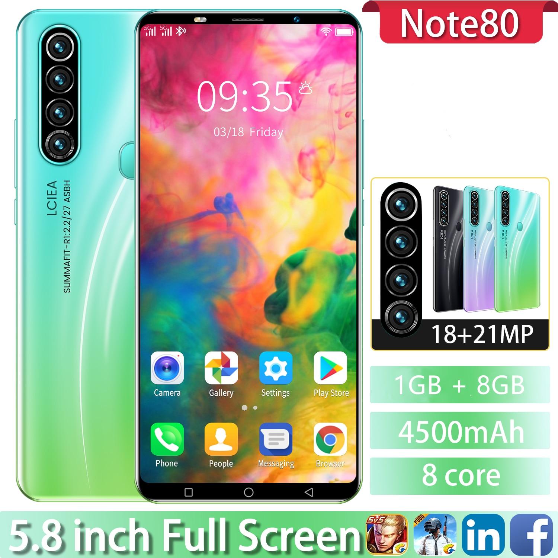 Cectdigi недорогой телефон Note80 смартфон 1 + 8G 5,8 дюймов смартфон Android 10 4500 мАч 4G две SIM + 64 Гб карта памяти
