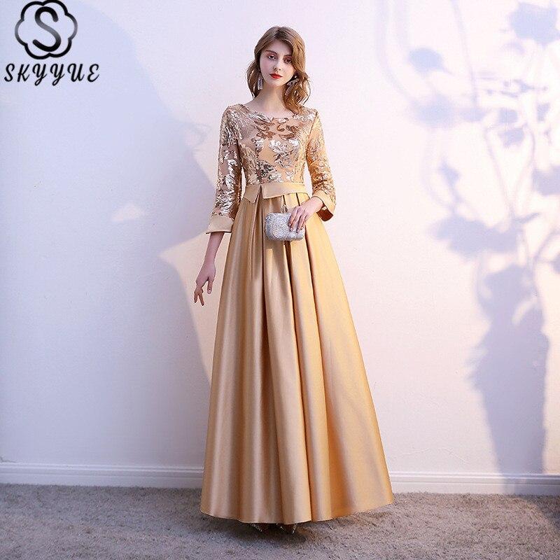 A-Line Formal Dress Skyyue K383 Floor-Length Sequined Three Quarter Sleeve Abendkleider Plus Size Zipper Robe De Soiree