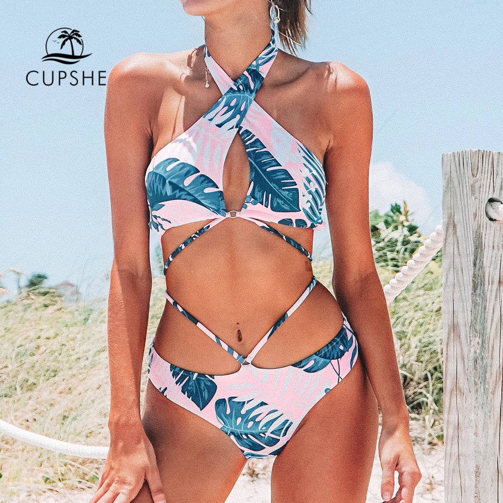 CUPSHE Pink and Navy Palm Print Halter <font><b>Bikini</b></font> <font><b>Sexy</b></font> <font><b>Strappy</b></font> Cut Out Swimsuit Two Pieces Swimwear Women 2019 Beach Bathing Suit image