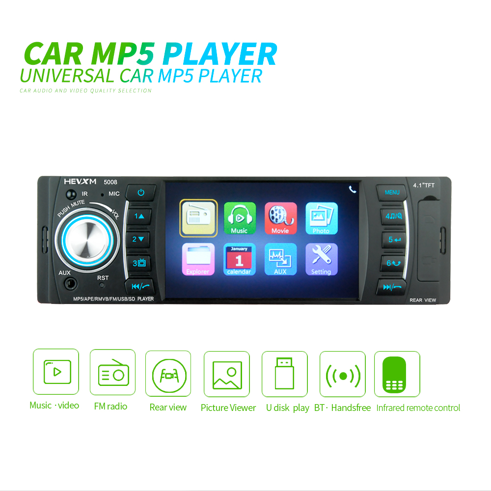 4.1 1 Din Digital Display Bluetooth Universal MP5 Player USB SD AUX FM Radio MP3 MP4 Audio Music Video ISO image