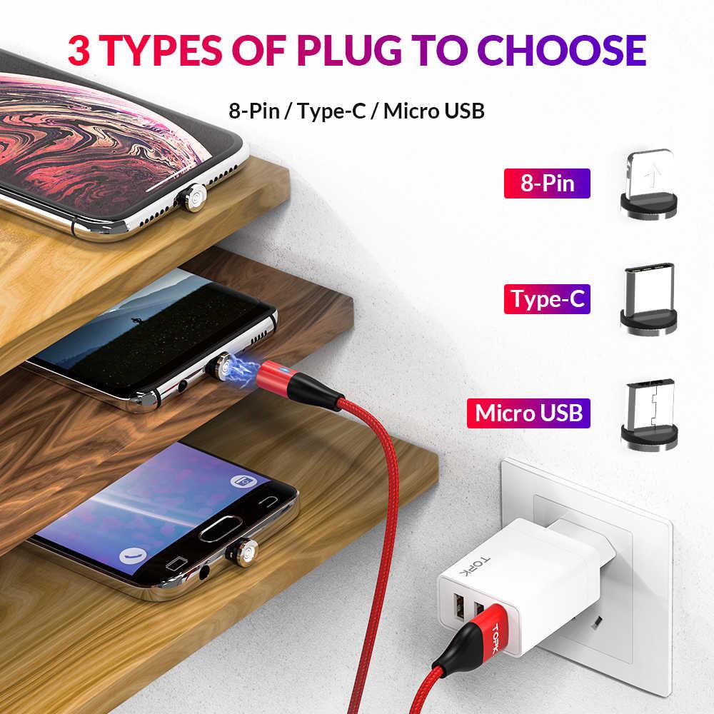 Topk AM60 3A 3rd Thế Hệ Nhanh Đèn Led Sạc Từ Micro USB Loại C Cho Iphone 11X8 7 dữ Liệu USB Sạc Cáp USB C