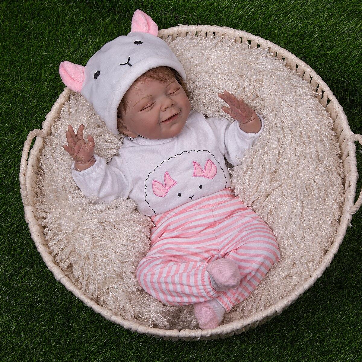 50 cm Super Weiche Silikon Reborn Baby Puppen Verwurzelt Faser Haar Lebensechte Nette Tuch Körper Reborn Bebe Spielzeug Für Kinder der Tag Geschenke