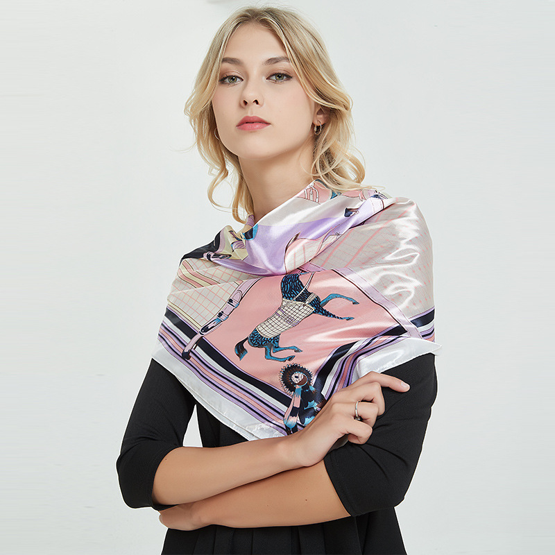 Brand Matagorda 2019 New Simulation <font><b>Silk</b></font> Satin Female <font><b>Scarf</b></font> <font><b>90</b></font> Cm Square Towel Purple Flower Plaid <font><b>Scarves</b></font> Woman Accessory Shawl image
