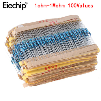 2000pcs/lot 100 Values 1/4W 1M Metal Film Resistor Assorted Kit  1 ohm~ 1M ohm Metal Film Resistor Kit Assortment Set 1R-1MR 1 set of 1280pcs 1 4w 64 values 1 10m ohm metal film resistors assortment components kit set