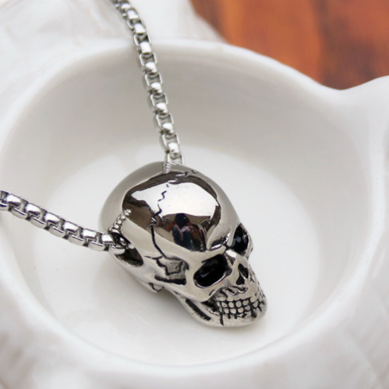 Punk Trendy Skull Men Necklace Stainless Steel Long Chain Necklaces for Men Boys Hip Hop Halloween Jewelry Boyfriend Gifts Hot(China)
