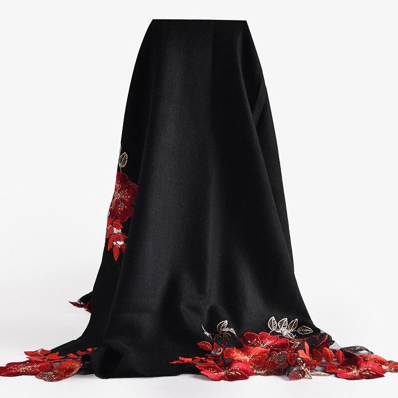 Femmes Pure laine broderie châles luxe solide Wrap Pashmina pour dames hiver automne chaud mode écharpe écharpes étoles 195x65cm