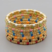 Go2Boho Gold Color Beaded Bracelet For Women Jewelry Boho Bracelets Fashion Elastic Pulsera Mujer Moda Enamel Beads Jewellery