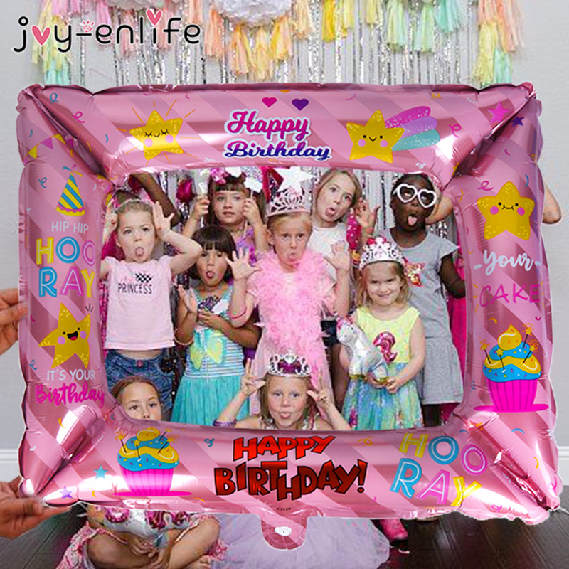 Happy Birthday Photo Frame Foil Balloons Photo Props Globos Birthday Party Decorations Kids Adult Baby Shower Boy Girl Ballon