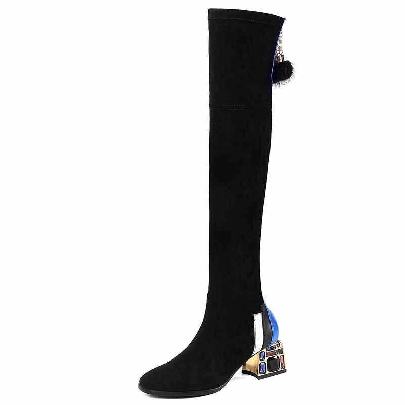 FEDONAS נשים ריינסטון נשף מסיבת עקבים גבוהים נעלי אישה שחור סקסי למתוח מגפי חורף חם נשים מעל הברך גבוהה מגפיים