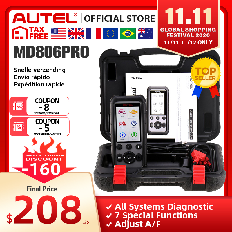 Autel MaxiDiag MD806 Pro OBD2 Scanner Car Automotive Diagnostic Tool Auto Code Reader OBDII OBD Scan Tool pk MD802 MD805 MD802