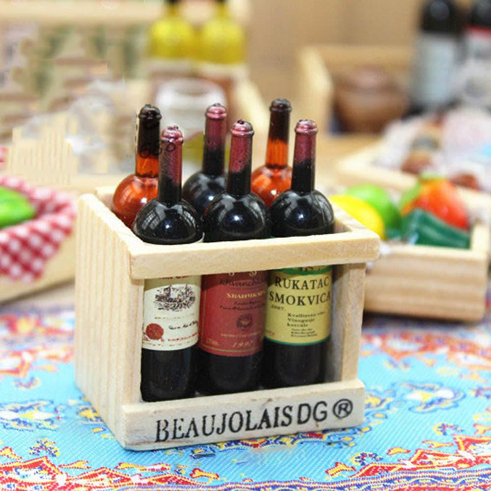6Pcs Colorful Wine Bottles Dollhouse Miniature 1:12 Scale TOY VVKE