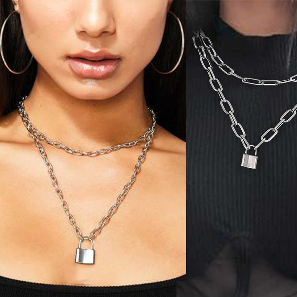 Punk Double Layers Lock Chain Necklace Women Gothic Link Chain Stainless Steel Metal collar Padlock Pendant Statement Necklace