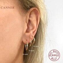 CANNER-Pendientes de aro de Plata de Ley 925 con botón, joyería fina, 12, 14, 16 y 18mm
