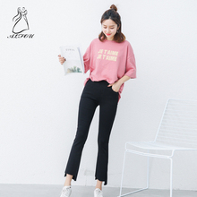 цены S-5XL Women High Waist black Irregular Flare Pants Large Size women's Leggings Wear Plus Fertilizer To Increase Casual Pants