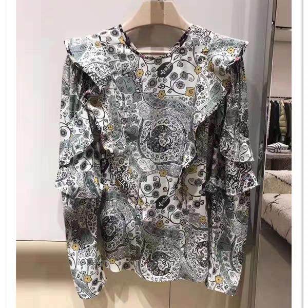 Floral Print Ruffled Women Shirt Long-sleeved Pullover Shirt Top