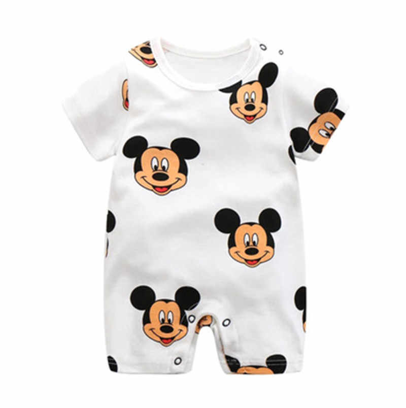 New Style Newborn Body Suit Baby Pajama Cartoon Mickey Cotton Romper Boys Rompers Short Sleeved Girls Dress Baby Romper