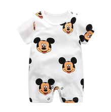 New Style Newborn Body Suit Baby Pajama Cartoon Mickey Cotton Romper Boys Rompers Short Sleeved Girls Dress Baby Romper(China)