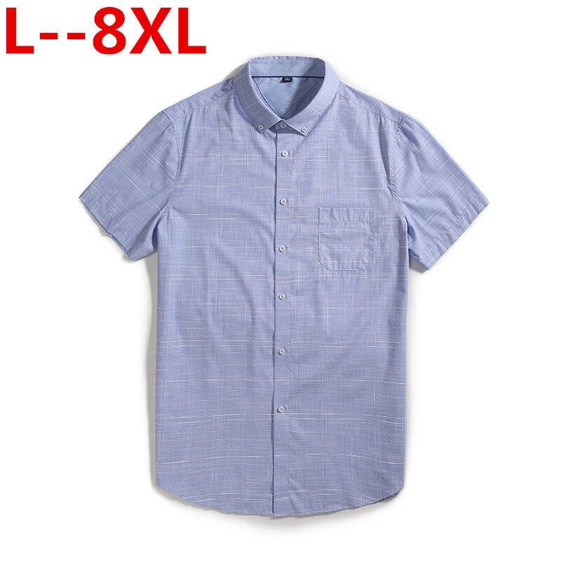 8XL 6XL 5XL 2020 Summer Turndown Collar Short Sleeve Oxford Fabric Soft Print Business Men Smart Casual Shirts With Chest Pocket