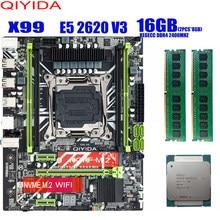 Carte mère X99 avec XEON E5 2620 V3, 2x8 go DDR4, 2400Mhz, kit combo de mémoire, NVME, usb 3.0, MATX, pour serveur Comparable à huanan