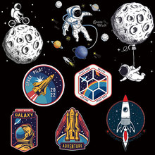 DIY Cartoon Space Heat Transfer Vinyl Thermo-stickers On Clothes Rocket Patch Moon Iron-On Transfers For Clothing T-shirt Stripe nicediy famous scientist patch heat transfers iron on patches for t shirt diy craft stickers applications for clothes decorative