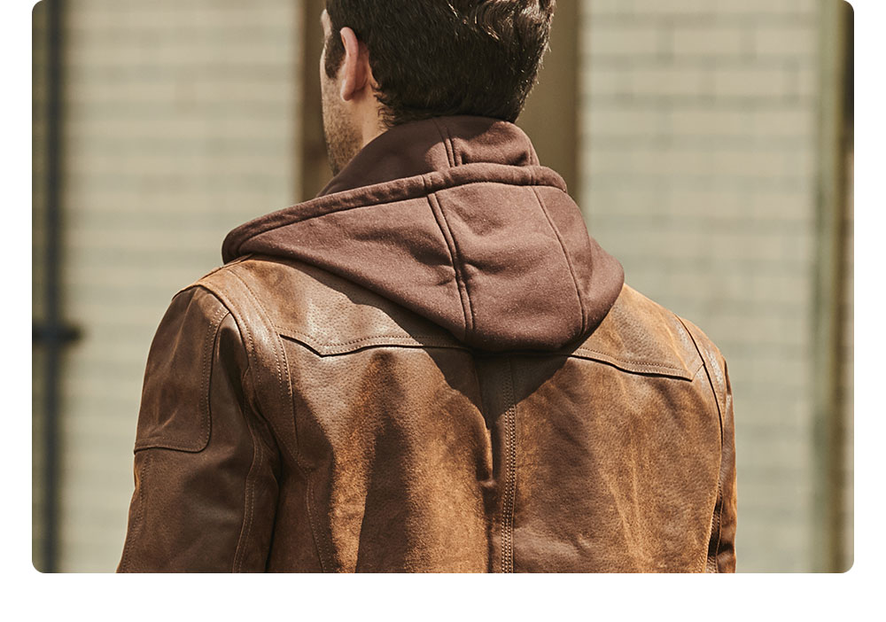 H00d9b54100604e5a8ec08067d6f4ef15y FLAVOR New Men's Real Leather Jacket with Removable Hood Brown Jacket Genuine Leather Warm Coat For Men