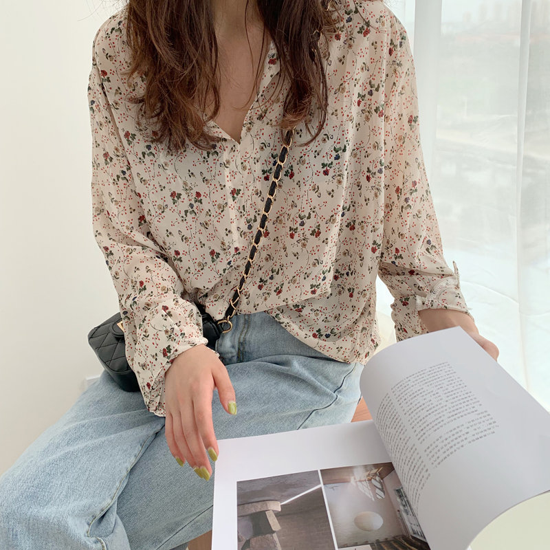 HziriP 2019 Sweet Chiffon Print Floral Casual Prairie V-Neck High Street Korea Holiday Fresh Party Free Cute All-Match Shirts
