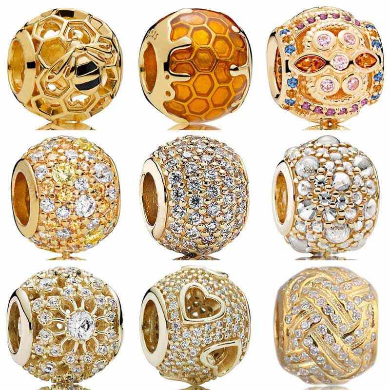 ทองสี Shine Pave Ball Honeybee หยด Fresco Tumbling Hearts Charms Fit สร้อยข้อมือ PANDORA เงิน 925 ลูกปัดเครื่องประดับ
