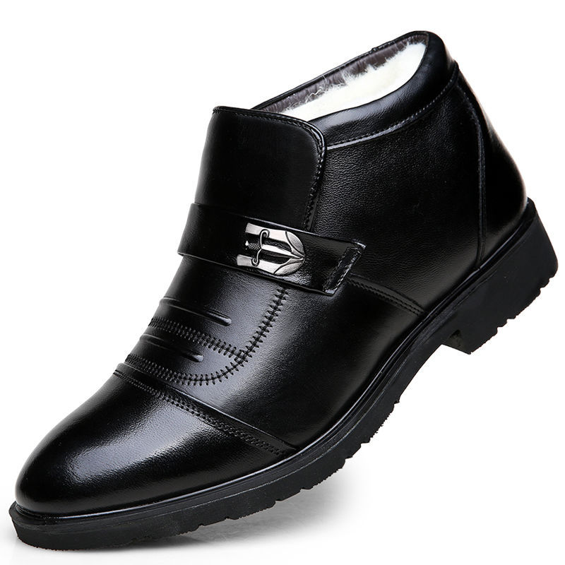 Adaptable 100% Genuine Leather Winter Boots Men Winter Shoes Cowhide Leather Warm Shoes Plush Black Chelsea Boots Man Ankle Booties