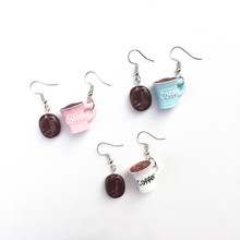 korean Handmade Coffee Cup With Bean long earrings for women, Funny Drop Earrings Lovely Fashion jewelry gift