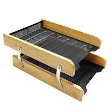 Folder Storage-Box Office-Shelf Desk-Organizer Mesh-Rack Metal Case Practical Double-Layer