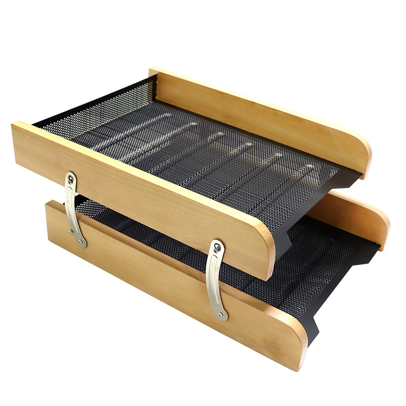 Wood Double Layer Wood File Letter Tray Document Shelf Storage Drawers Desk Organizer File A4 Paper Holder Magazine Rack