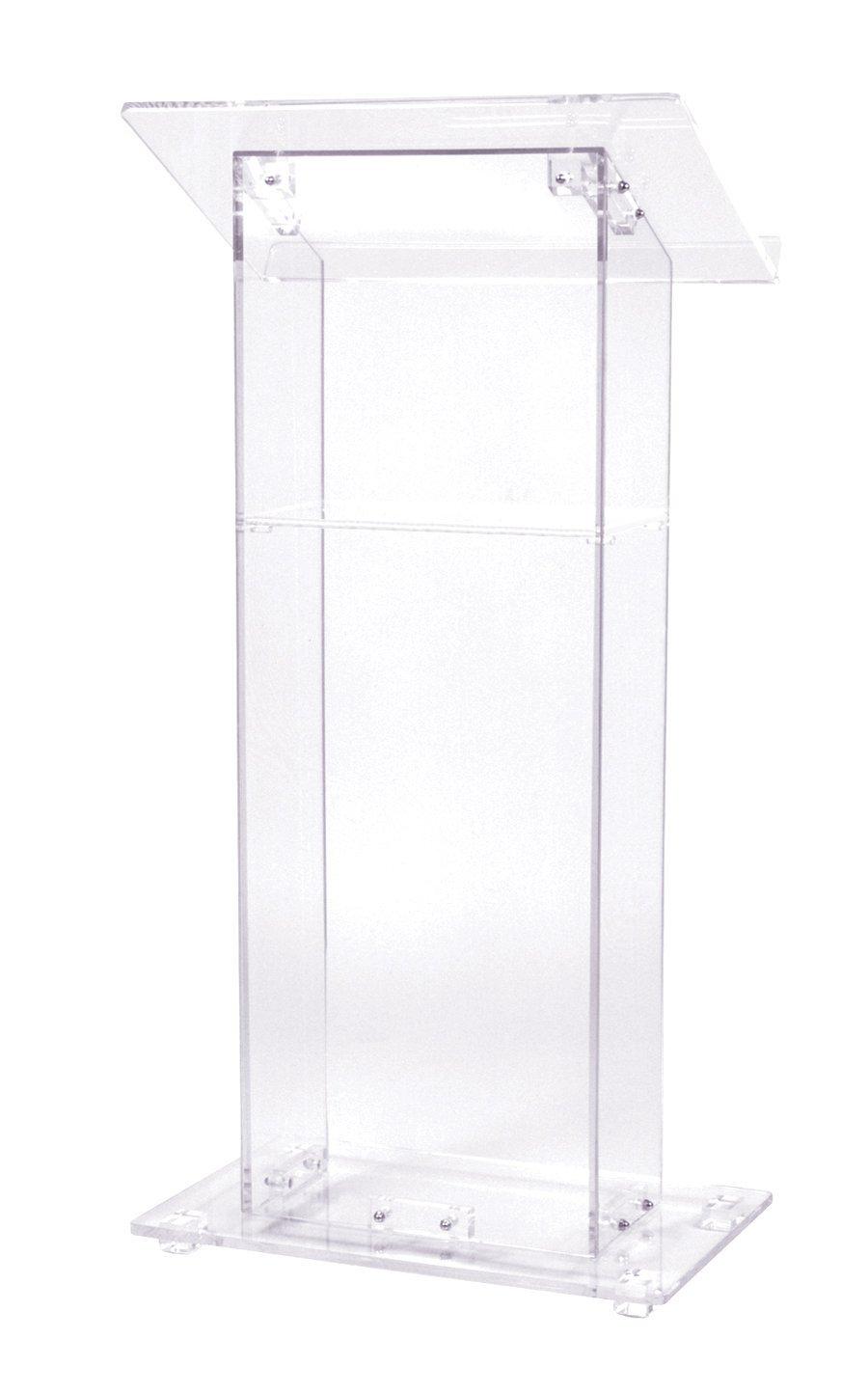 Acrylic Lectern With Shelf, Crystal Clear Decoration Table Podium Furniture Plexiglass