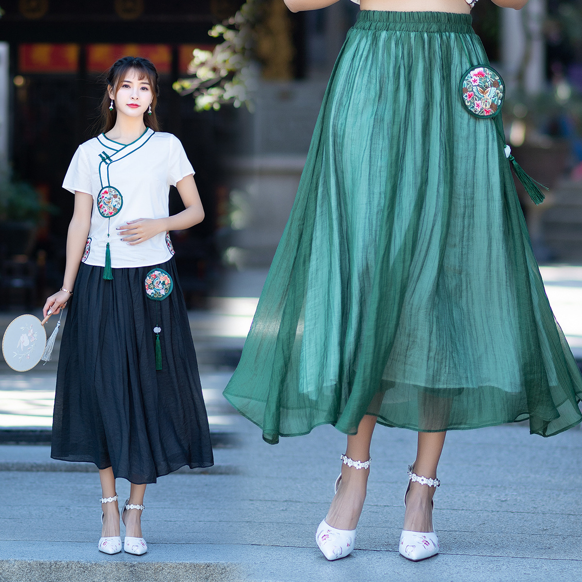 Sf0697 Feimina 2019 Spring New Style Ethnic-Style Big Hemline Embroidery Skirt