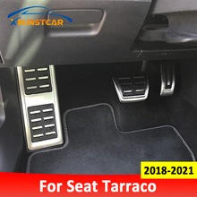 Xburstcar Stainless Steel Auto Gas Brake Footrest Pedal Cover Replacement Parts for Seat Tarraco 2018   2021 LHD Car Pedals Pad