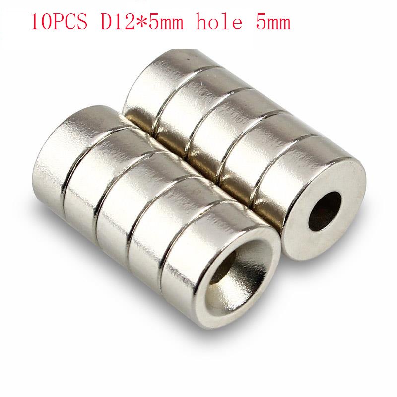 Super Strong 10pcs N50 Car Round Neodymium Magnets 4mm Hole Countersunk Ring Rare Earth Magnet 12mm  X 5mm Magnet