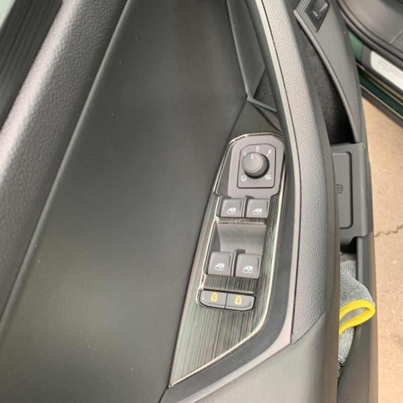 Auto Ascensore In Vetro Interruttore Sequins del Pannello Interno Bracciolo Cornice Decorativa per Skoda Kodiaq 2016 2017 2018 Accessori per Auto