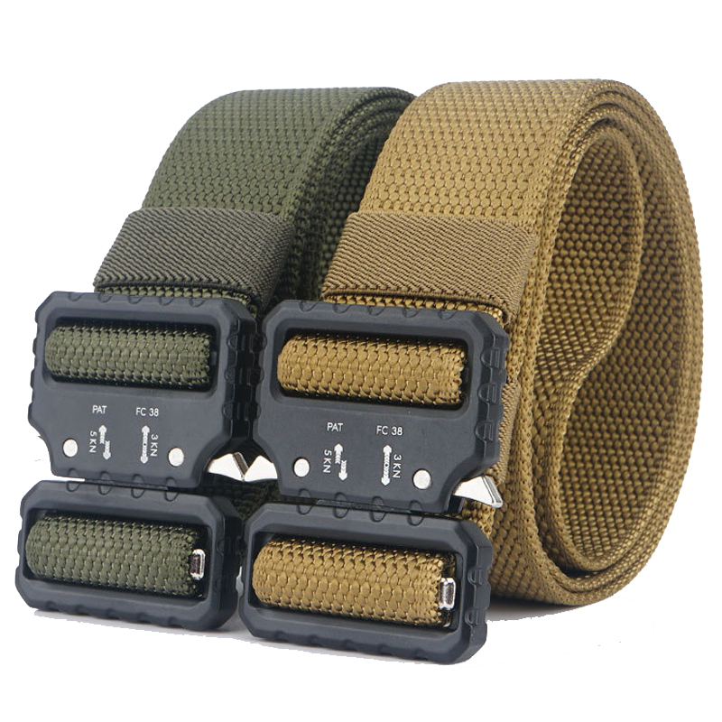 Military Tactical Nylon Belt Alloy Buckle Nylon Belt Outdoor Combat Wear-resistant Non-slip Breathable Multi-functional Belt