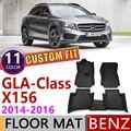 Кожаные автомобильные коврики на заказ для Mercedes Benz GLA Class X156 2014 2015 2016X156 5 мест коврик для ног Аксессуары для ковров 200 260