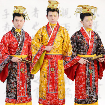 Traditional Tang Emperor Costume Dynasty Qing Hanfu Ancient Dragon Robe Prince Costume Adult Male Chinese Folk Dance Wear DL4145