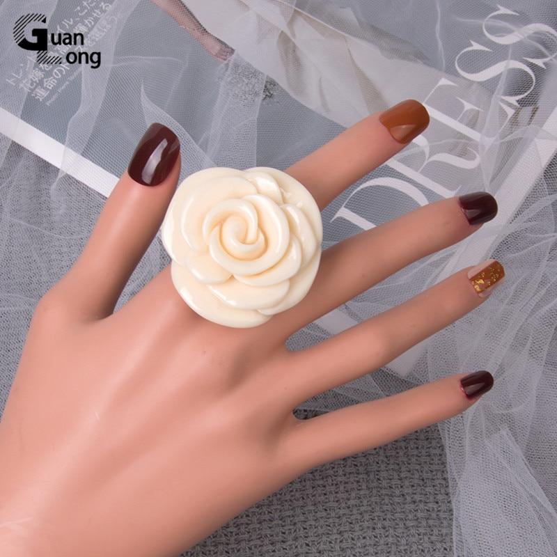 Guanlong Acrylic Rose Flower Engagement Women's Rings Fashion Jewelry Resin Vintage Wedding Ring for Girls Female Punk Rings 4