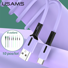 USAMS 10 pcs/Lot Usb Cable C Lightning Cable For Iphone Solicone Usb Cable Type C Micro USB Data Cable With Led Light Wholesale