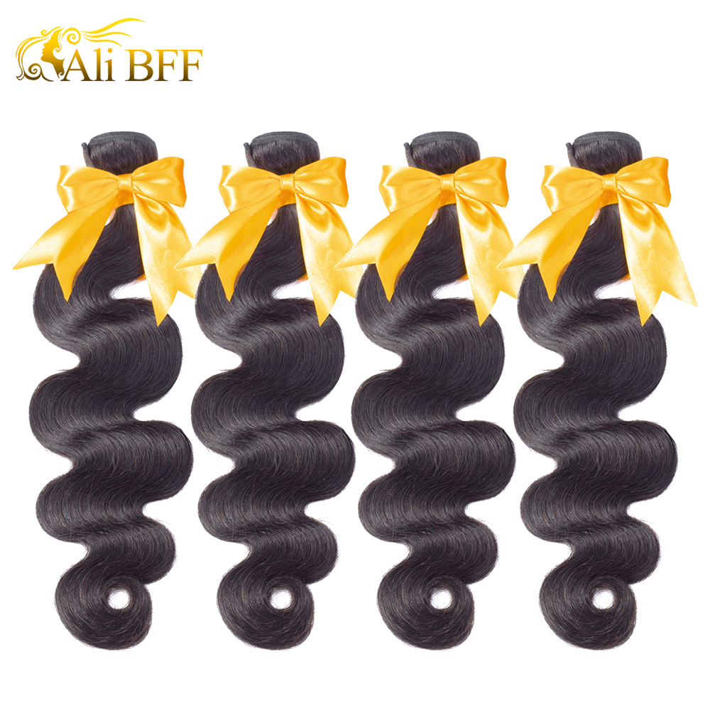 ALI BFF Hair Body Wave Indian Hair Weave Bundles 100% Human Hair 3 and 4 Bundles Natural Color Remy Hair Extension title=