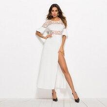 Plus Size Real Polyester Vestido Longo Vestidos Mujer 2019 New Screen Yarn Split Color Dress Nightclub Women Long Sexy Party